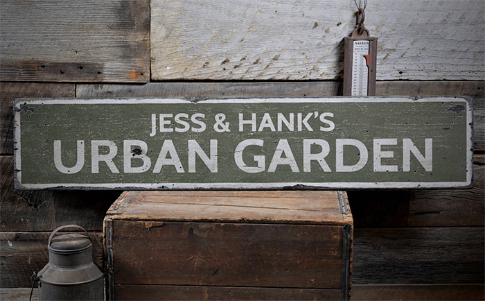 Custom Urban Garden Sign Gifts for Gardeners