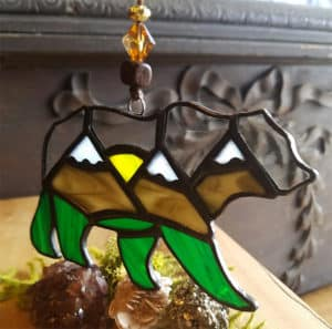 Stained Glass Mountain Bear Suncatcher