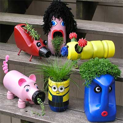 DIY Recycled Bottle Planters Garden Activity for Kids